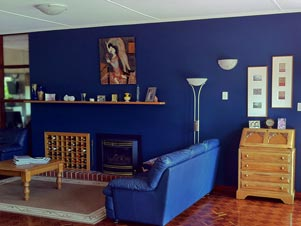 Interior painting - blue feature wall